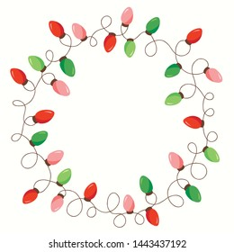 Vector Red and Green Holiday Christmas and New Year Intertwined String Lights Isolated Round Frame on White Background. Winter Holiday Circular Decorative Element for Invitations, Postcards, Banners