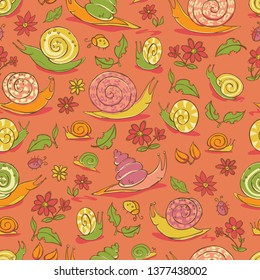 Vector red hand drawn snails and flowers repeat pattern. Suitable for gift wrap, textile and wallpaper. Surface pattern design.