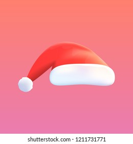 Vector Red Hat of Santa Claus Isolated on Background. Mock-up for Banners, Posters, Cards etc. Design Object. Vector Illustration.