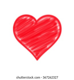Vector of red heart illustration by doodle painting line
