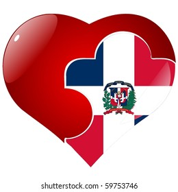 vector red heart national flag dominican stock vector royalty free