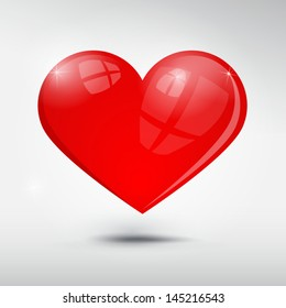 Vector red heart on grey background