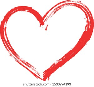 Vector red Heart shape frame with hand drawn brush painting isolated on white background
