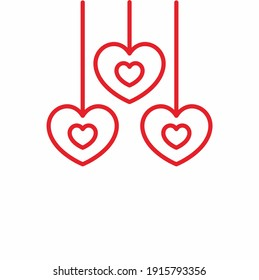 Vector red heart silhouette drawing.Love symbol.Valentine's day decoration stencil shape element.Birthday and wedding icon.Sign of friendship.Health care illustration.Clip art.