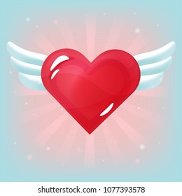 Vector red heart with white wings on light background. Romantic item for games or other design works.