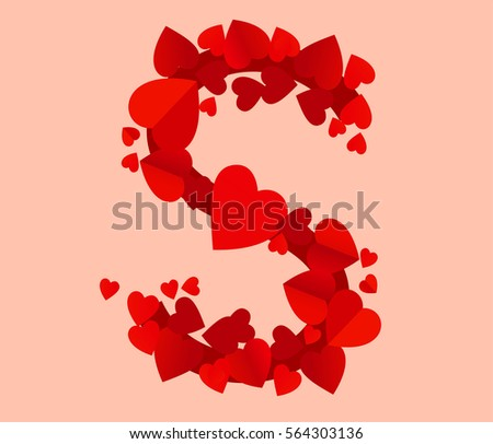 Vector Red Hearts Alphabet Letter S Stock Vector Royalty Free