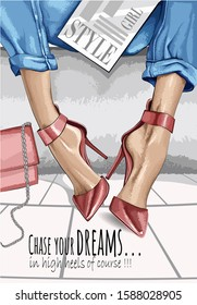 Vector red heels with motivational text: chase your dreams. Fashion accessory illustration in glamour style for beauty salon, shop, blog print