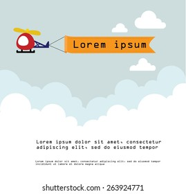 Vector of Red Helicopter with banner and white cloud in sky on the background