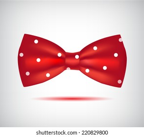 vector red hipster bow tie in dots isolated