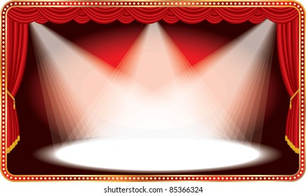 vector red horizontal stage with three white spot lights