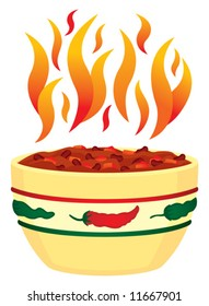 Vector Red hot chili in bowl with flames