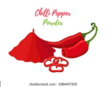Vector red hot chilli pepper powder in pile with slices, organic natural plant. Made in cartoon flat style