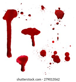 Vector red Ink stain, blots and splashes. Isolated Realistic paint drops, design elements.