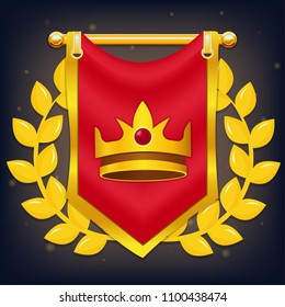 Vector red knight flag with crown, laurel on the golden pole. Perfect for games or other design works
