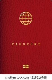 vector red leather passport