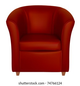 vector red leather tub chair