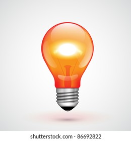 Vector Red Light Bulb