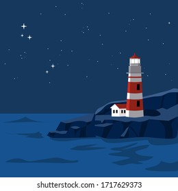 Vector red lighthouse and house landmark on shore of stone rock. Under the night sky and ocean backgound and fully of stars