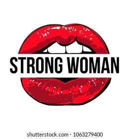 Vector red lips with Strong woman sign. Cool modern illustration in pop art style. Feminist glamour mouth. Feminist conceptual poster isolated on white background.