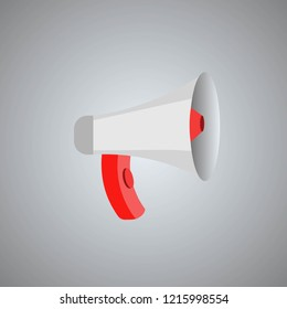 Vector red megaphone illustration on gray background. Marketing symbol. Mouthpiece icon. Loud speaker icon vector, megaphone. Business promotion, advertising, call through the horn, online alerting.