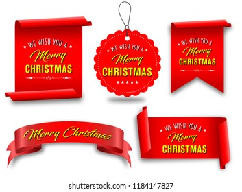 Vector, red merry christmas banners set,  Paper scrolls, Ribbons, stickers.