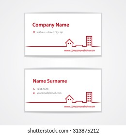 Vector Red Modern Visiting Business Card Template With Icons Of House Ground