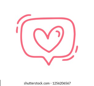 Vector red monoline cute text bubble with Heart. Valentines Day Hand Drawn icon. Holiday sketch doodle Design element valentine. love decor for web, wedding and print. Isolated illustration.