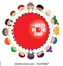 Vector of Red nose day campaign, Where people do funny things to raise money for charity.