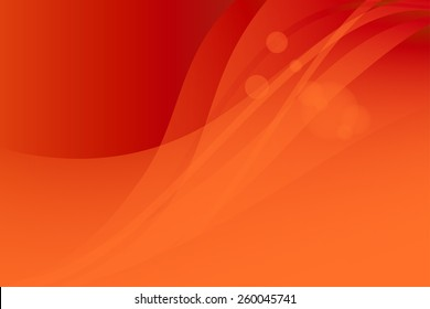 Vector red orange abstract background. Waves and glare
