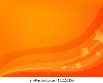 vector red and orange background with waves and stars