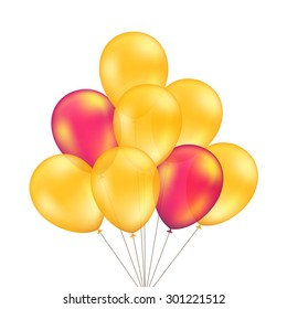 Vector Red Orange Yellow Balloons Set Isolated on White Background