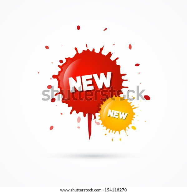 Vector Red and Orange, Yellow Stickers - Stains With New Title