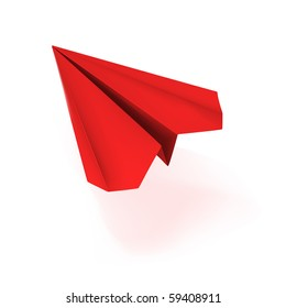 vector red origami plane