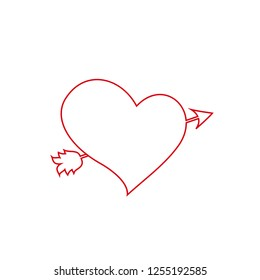 Vector red outline heart pierced with arrow sketch illustration. Element of colored wedding icon for mobile concept and web apps. Lovestruck or arrow through heart icon for websites, love clip art.