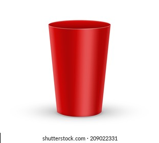 Vector Red Plastic Glass on a white background