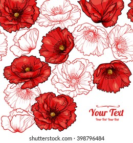 Vector red poppies flowers frame corner pattern . Invitation or greeting card design.Vector illustration