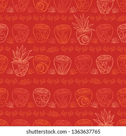 Vector red potted plants tropical beach resort repeat pattern. Suitable for gift wrap, textile and wallpaper. Surface pattern design.