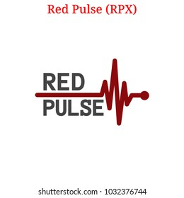 Vector Red Pulse (RPX) digital cryptocurrency logo. Red Pulse (RPX) icon. Vector illustration isolated on white background.