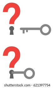 Vector red question marks with keyholes and grey key unlocking.