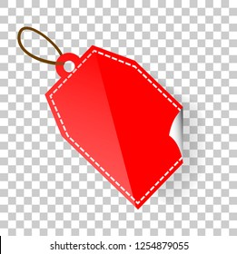 Vector Red rectangle Blank Tag with soft shadow at transparent effect background