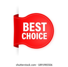 Vector red ribbon. Best choice guaranteed label.