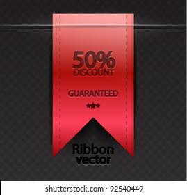 Vector red ribbon bookmark