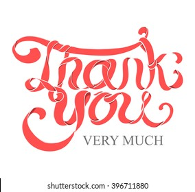 Vector red ribbon hand lettering Thank you text on white background. Very useful for poster, greeting, banner design