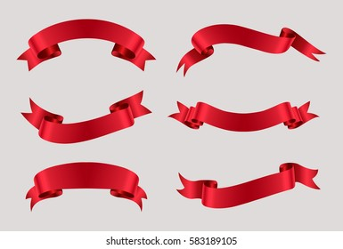 Vector red ribbons.Ribbon banner set.
