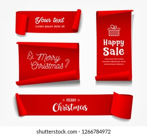 Vector Red Roll paper Merry Christmas concept isolated on white background, illustration