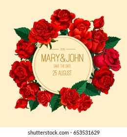 Vector red rose decorative composition. Invitation card. Print template. Vintage old fashion.