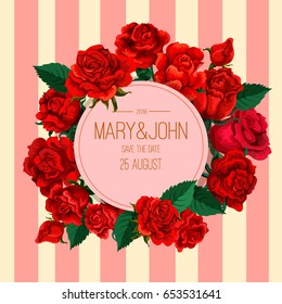 Vector red rose decorative composition. Invitation card. Print template. Vintage old fashion. Retro background with roses.