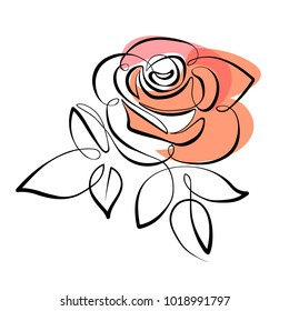 Vector red rose drawing of one continuous line. Color illustration of flowers in the style of line art
