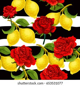 Vector red roses and lemons decorative composition. Invitation card. Print template. Vintage old fashioned.