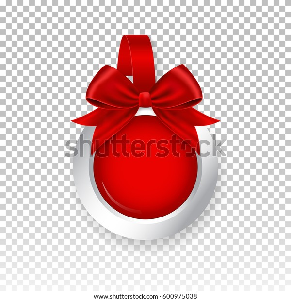 Vector red round paper wobbler with red bow, isolated on background. Template for your advertising price wobbler.